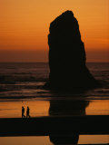 Cannon Beach and Silhouetted Sea Stack at Sunset  Oregon