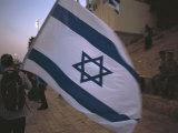 Israel  Jerusalem: Israeli Flag Being Waved at the Wailing Wall