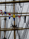 Close Up of the Mast and Rigging of a Sailing Ship  New York  New York