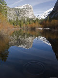 Fall Colors and Mount Watkins Reflecting in Mirror Lake  California