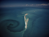 Calm Tidal Swirl Can Be Seen Left of the Lacepede Islands  Australia