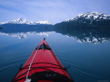 Exploring in a Sea Kayak a Calm Bay Off the Prince William Sound  Alaska