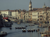 Boats Crowd the Grand Canal of Venice  Italy