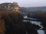 Chateau and Surrounding Village above the Dordogne River  France