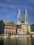 Grossmunster Church Built in Gothic Style in 1781 on the Limmat River in Zurich  Switzerland
