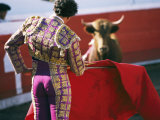 Bullfighter Holds his Red Cape Before a Bull
