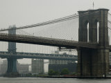 Brooklyn Bridge and Manhattan Bridge as Seen from South Street Seaport  New York  New York
