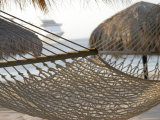 Hammock on Beach with Ship in Background  Cabo San Lucas  Mexico