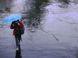 Elevated View of a Student in the Rain with a Blue Umbrella