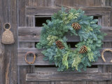 Horseshoes and Holiday Wreath on Arroyo Hondo Stables  California