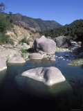 Green Pools of the Sespe River  with Large Boulders  California