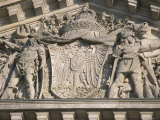 Historical Sculpture of Soldiers in Battle on the New Reichstag Facade  Berlin  Germany