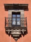French Doors and a Wrought Iron Balcony in a Building  San Miquel de Allende  Mexico