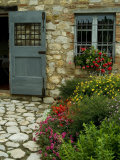 Flowers Line the Path and Adorn a Window of a Tuscan Villa  Tuscany  Italy