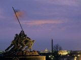Iwo Jima Monument and Skyline of DC at Night  Washington  DC
