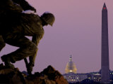 Iwo Jima Memorial with Capitol Building and Washington Monument  Washington  DC