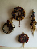 Four Wreaths Hang on the Wall of a Tuscan Villa  Tuscany  Italy