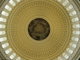 Interior of Dome of the US Capitol Building  Washington  DC