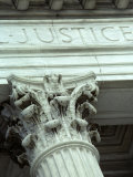 Detail of the US Supreme Court Building  Washington  DC