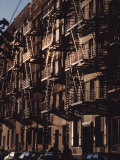 Exterior View of Buildings with Fire Escapes in New York City