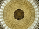Interior of the Dome of the US Capitol Building  Washington  DC