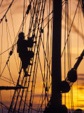 Reenactors Climbs Up a Reconstructed Seventeenth Centory Ship in Jamestwon Settlement  Virginia