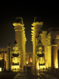 Luxor Temple Entrance with Ramses II Statues at Night in Luxor  Egypt
