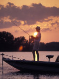 Man Fishes During Sunset on the James River near Shirley Plantation in Virginia