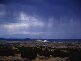 Rain Pores Down on the Desert Landscape in New Mexico