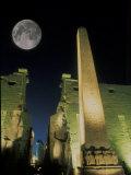 Moonrise over Luxor Complex in Luxor  Egypt