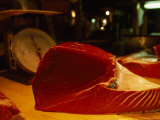 Freshly-Cut Ruby-Red Slab of Tuna Meat  Tsukiji Fish Market  Japan
