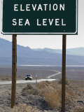Elevation Sea Level Sign and Highway 190 in Death Valley National Park  California
