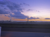 Denver International Airport from the Runway at Sunset