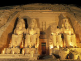 Night Shot of the Entrence to the Temple of Ramses II in Abu Simbel  Egypt