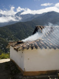 Kitchen Smoke Rising from an Andean Home  Venezuela