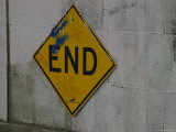 End Sign at the End of a Street  Brooklyn  New York