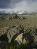 Eastern Sierras Rock Formations and Snow Known as the Alabama Hills  California