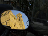 Reflection in Mirror of Palazzo del Bargello  Florence  Italy