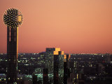 Reunion Tower and City Skyline at Dusk in Dallas  Texas