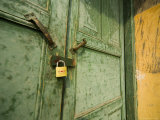 Gold Lock  Green Door  Yellow Wall of Chinese Farm Building  Wushan  China