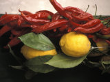 Lemons and Dried Red Peppers for Sale as Local Produce on the Amalfi Coast in Ravello  Italy