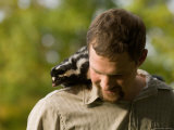 Man Holds a Spotted Skunk in Missouri