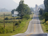 Rural Road  Phone Lines and Scenic Countyside