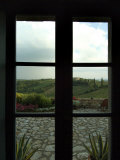 Looking Through a Window to the Rolling Hills of Tuscany  Italy