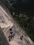 Male Rock Climbing in Yosemite National Park  California