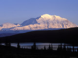 Midnight Alpenglow on Mount Mckinley Reflecting in Wonder Lake  Alaska