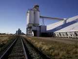 Railway Line Tracks Leading to a Wheat Depot with Silos  Australia