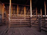 Outback Timber Sheep Shearing Shed with Corrals at Sunset  Australia