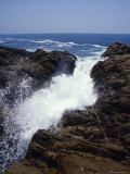 Ocean Waves Crashing Onto Rocks Flow Inland Causing Erosion  Australia