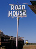 Pink Roadhouse Sign in an Isolated Outback Settlement Town  Australia